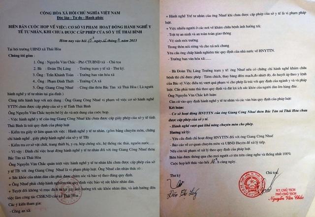 Cuộc họp của xã Thái Hòa về việc ông Nhuế chưa được cấp phép và hành nghề vượt quá khả năng chuyên môn vào năm 2013