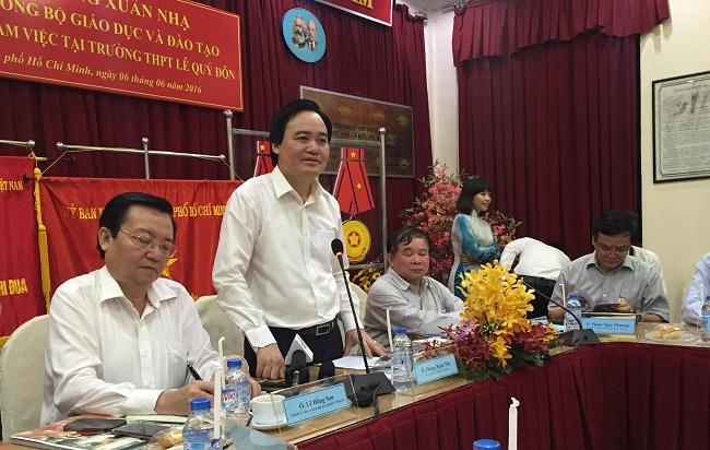 Lãnh đạo Sở GDĐT TPHCM trong buổi làm việc với Bộ trưởng Phùng Xuân Nhạ