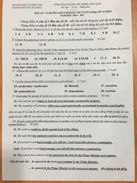 TPHCM: Công bố đáp án thi lớp 10 công lập - 4