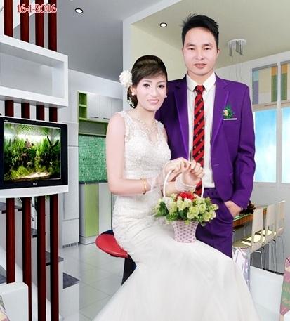 Ảnh cưới tuyệt đẹp của Chàng lùn Đậu Văn Qúy và Nàng bạch tuyết Ngô Thị Cẩm Giang khiến nhiều người ghen tỵ.