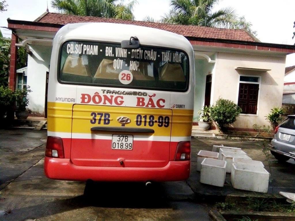 Chiếc xe buýt đang bị tạm giữ tại Trạm CSGT 1-48.