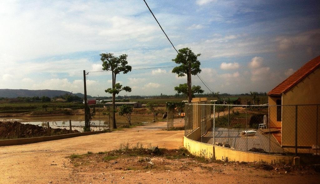 Trang trại nuôi vịt trời nhìn từ cổng vào.