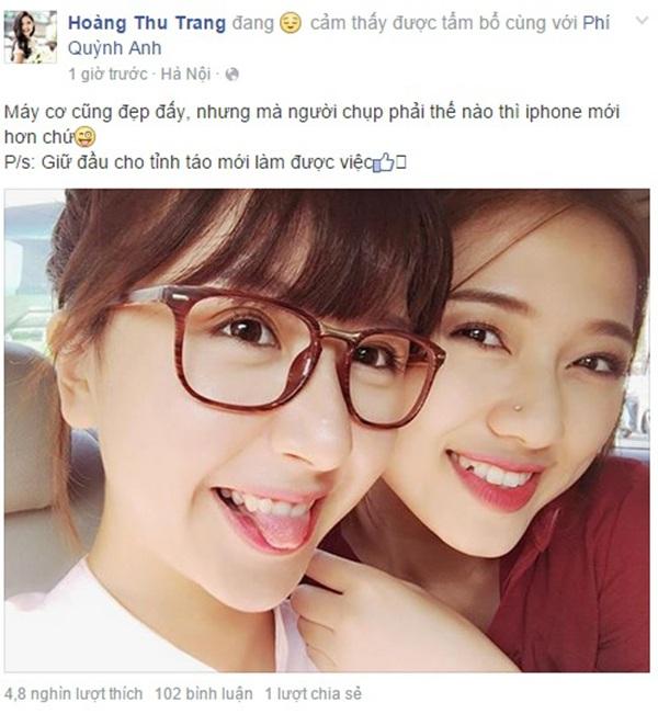 Bạn diễn Thu Trang trong phim 5S online bênh Quỳnh Anh Shyn bằng cách nhắc lại status gây tranh cãi của cô nàng