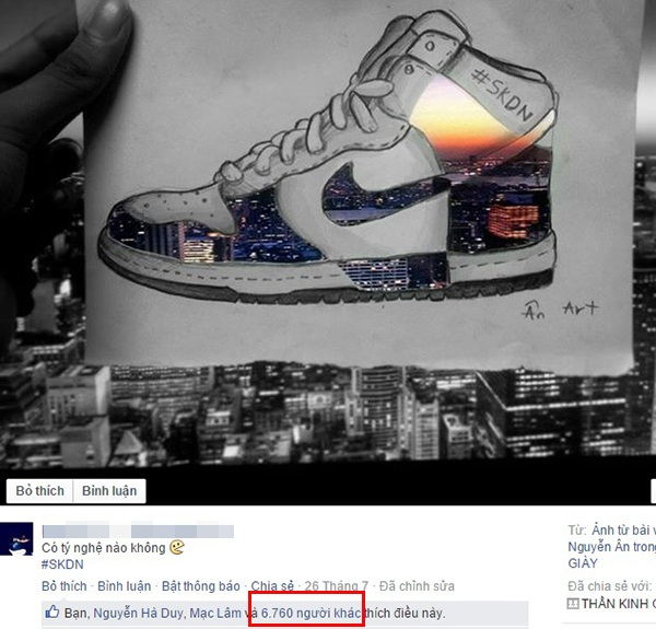 Một trong những bức tranh vẽ giày sneaker hết sức sáng tạo của Hồng Ân. Bức tranh này hút hơn 6.000 Like trên một hội Facebook đam mê giày