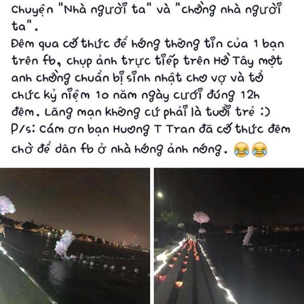 Màn tỏ tình lãng mạn của người chồng với vợ vào lúc 0h ở Hồ Tây (Hà Nội) đang được dân mạng chia sẻ
