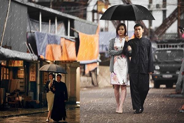Cảnh đi dưới mưa lãng mạn trong phim của vợ chồng Diệp Vấn