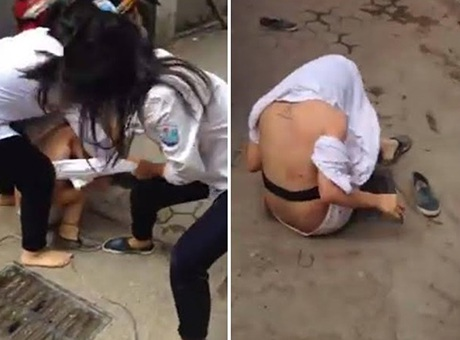 Hình ảnh trong clip nữ sinh ẩu đả xuất hiện trên mạng xã hội ngày 29/9/2015