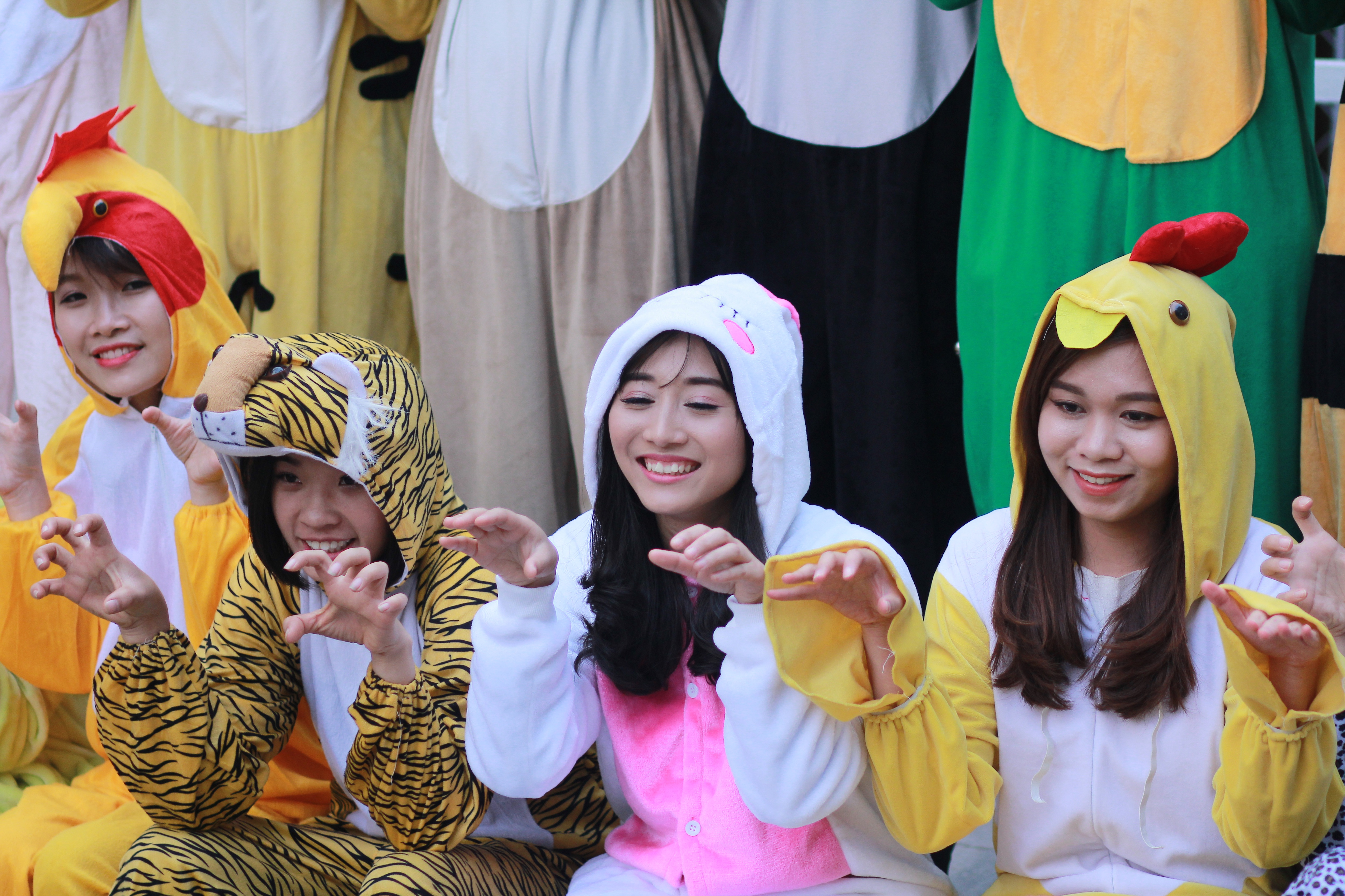Các bạn sinh viên mặc bộ đồ hóa trang các con vật đáng yêu như thỏ, hổ, gà, voi...