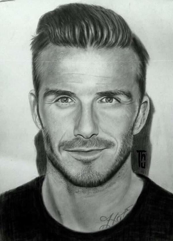 Tranh vẽ David Beckham của Lê Ngọc Thu
