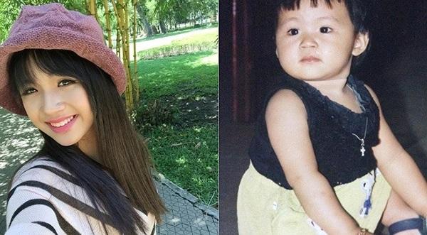 Lan Thy khi còn bé (bên phải) và hiện nay (bên trái)