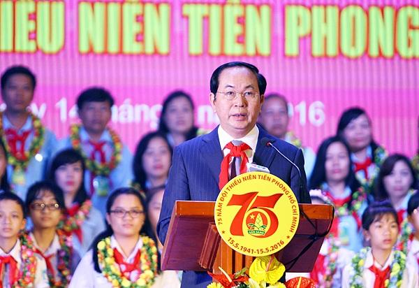 Chủ tịch nước Trần Đại Quang phát biểu, dặn dò Đội Thiếu niên Tiền phong tại buổi lễ