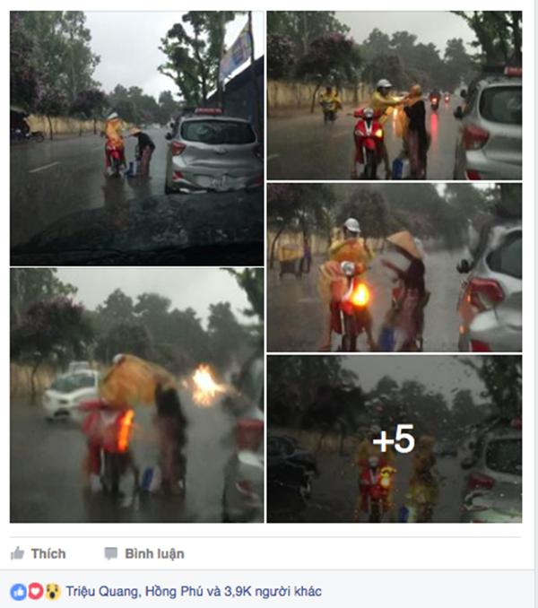 Cô gái dừng lại giữa trời mưa để chia sẻ cho bà cụ đi đường một chiếc áo mưa. Hành động đẹp này khiến nhiều người xúc động (Ảnh: QuanTranHN)