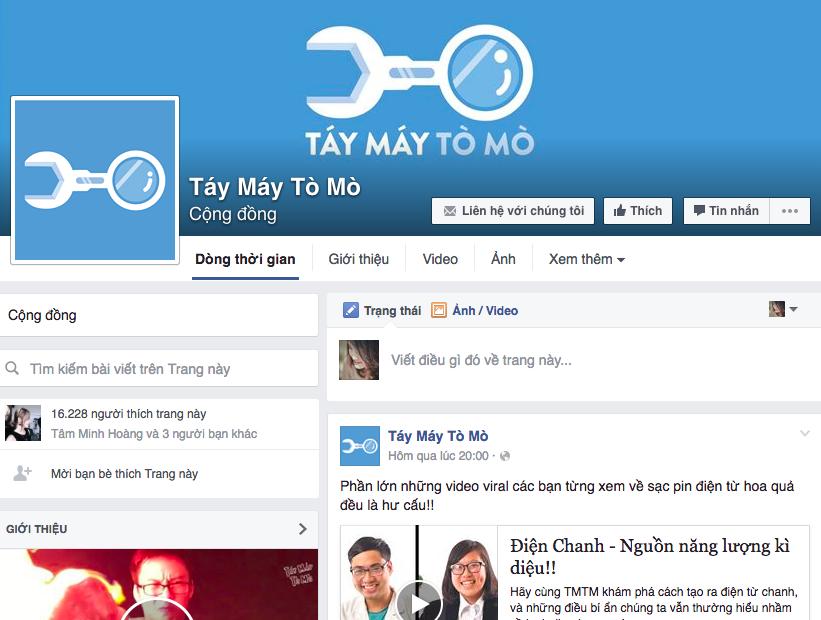 Táy Máy Tò Mò có fan page hút hơn 16.000 lượt theo dõi trên Facebook và 30.000 lượt trên Youtube.