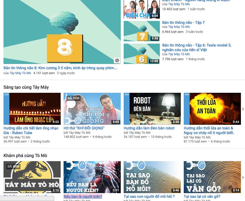 Kênh Youtube có rất nhiều video thí nghiệm khoa học vui của nhóm TMTM