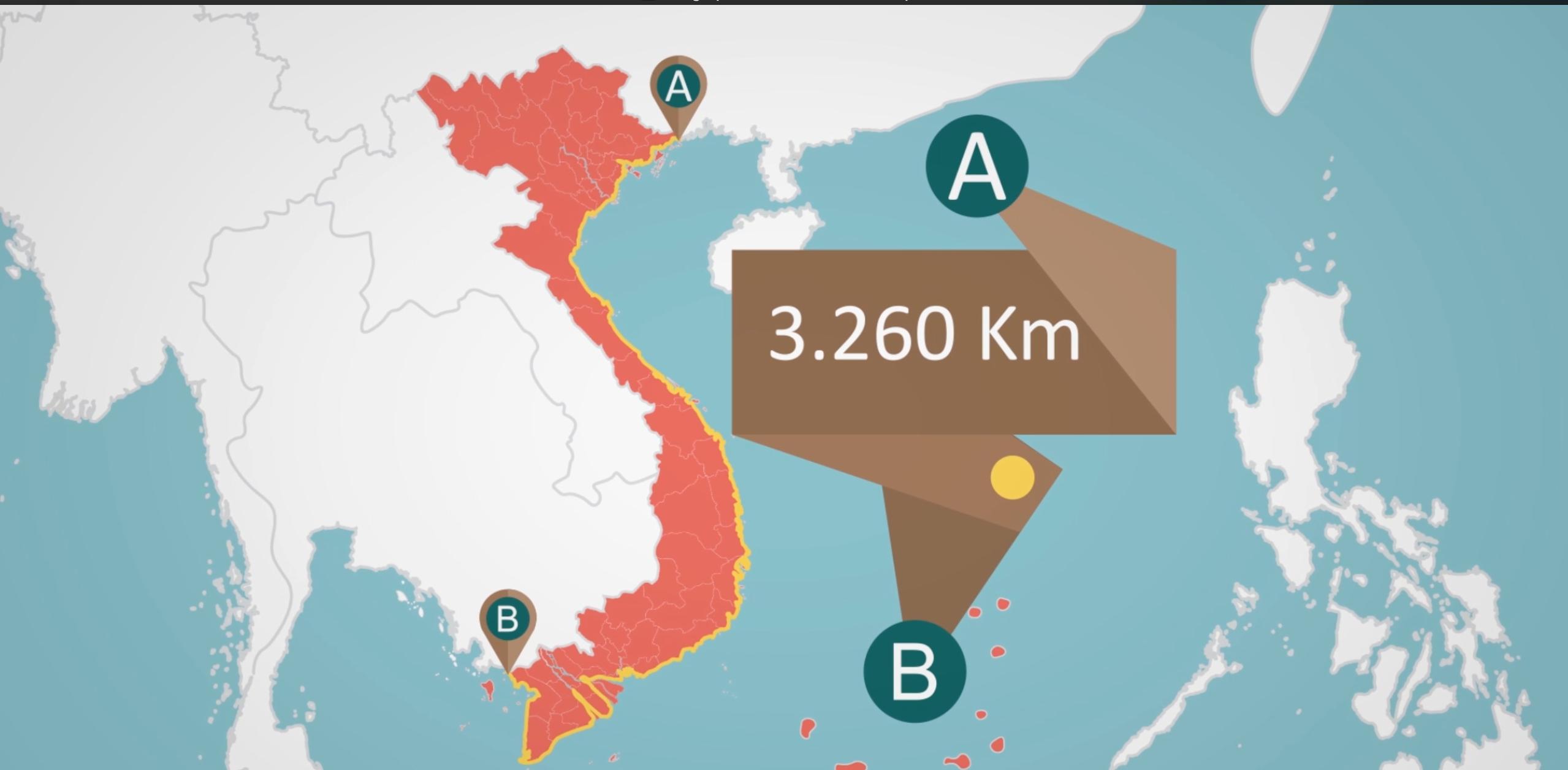 Hình ảnh lãnh hải chủ quyền Việt Nam được thể hiện chính xác cùng đồ họa sinh động