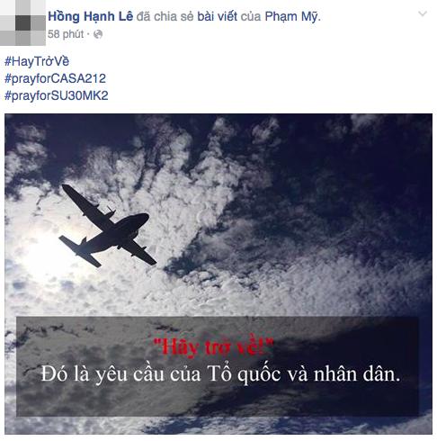 """Hashtag """"Hãy trở về"""" cầu nguyện cho tổ bay CASA-212 phủ khắp mạng xã hội - 8"""