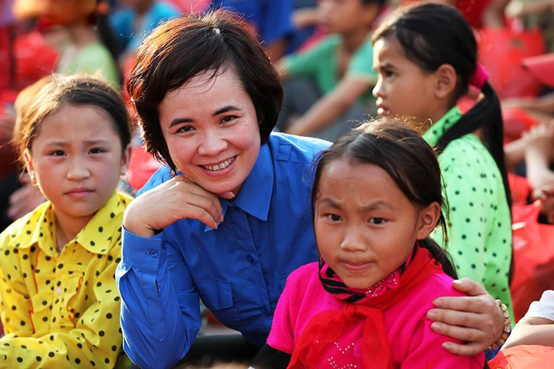 Chị Hoàng Thị Thu Huyền - Bí thư huyện đoànVị Xuyên, tỉnh Hà Giang chia sẻ về hoạt động tình nguyện tại địa phương.