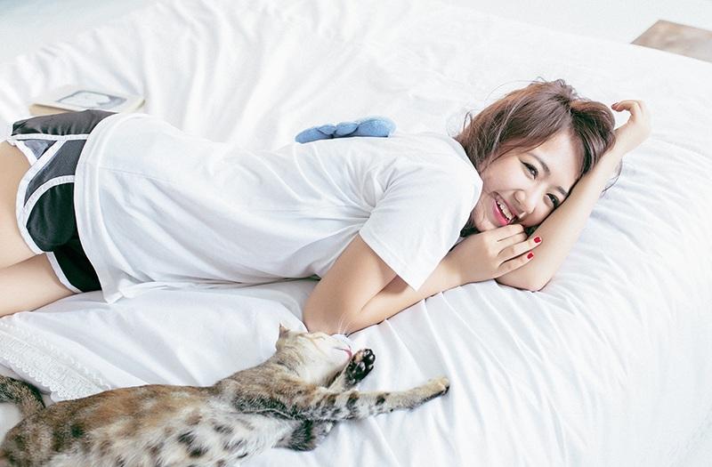 Cuối tuần thư giãn của hot girl Vũ Quỳnh Anh bên chú mèo cưng - 9