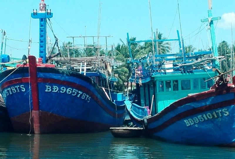 Ngày 21/7, PV Dân trí lại ghi nhận con tàu đang neo đậu ở cảng cá Tam Quan (huyện Hoài Nhơn) mà cán bộ Chi cục THADS huyện Hoài Nhơn đang canh giữ mang biến số cũ BĐ 96578 TS