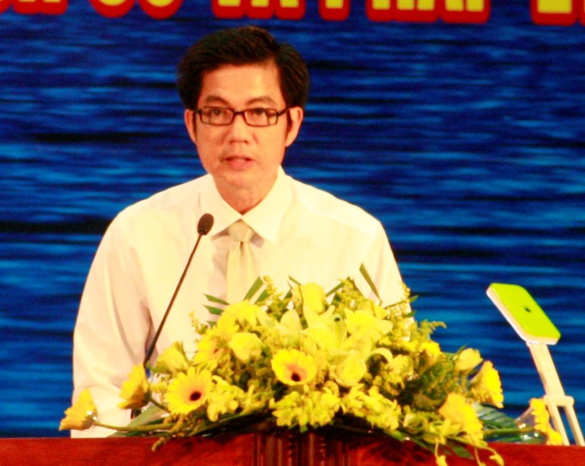 Vụ trưởng Vụ Thông tin cơ sở - Bộ Thông tin và Truyền thông, ông Đoàn Công Huynh phát biểu tại triển lãm.