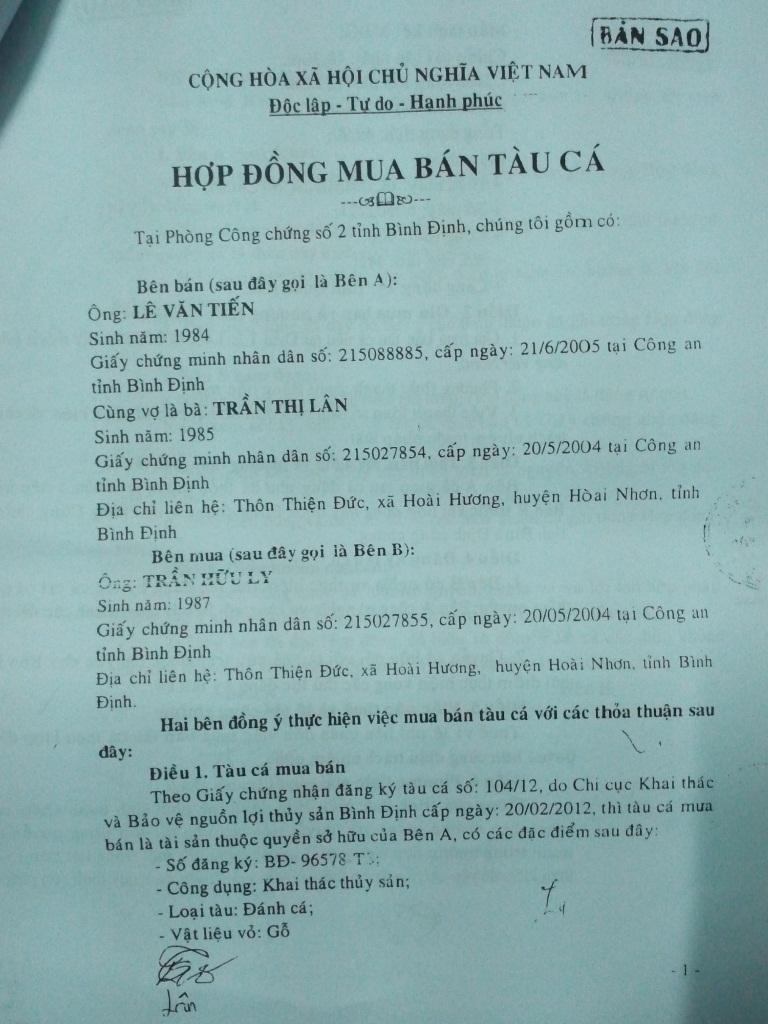 Hiện Chi cục THADS huyện Hoài Nhơn chưa kê biên, bán tài sản để thi hành án được vì TAND huyện Hoài Nhơn chưa hủy 2 hợp đồng mua bán tàu cá không hợp pháp này