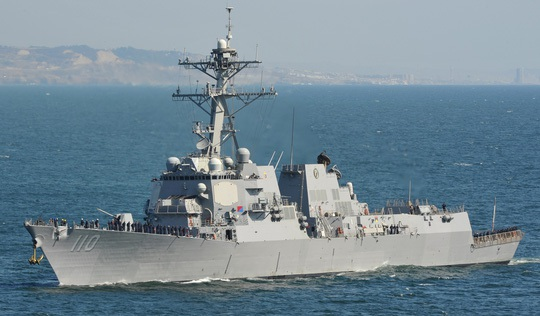 Tàu khu trục mang tên lửa dẫn đường USS William P. Lawrence (Ảnh: Hải quân Mỹ)