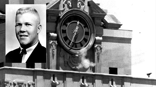 Charles Whitman (ảnh nhỏ) đã trèo qua tháp đồng hồ tại Đại học Texas để thực hiện vụ xả súng tại đây (Ảnh: Timesofmalta)