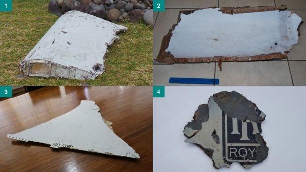 Một số mảnh vỡ được tìm thấy trước đây nghi là của máy bay mất tích MH370 (Ảnh: BBC)