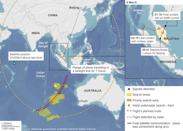 Khu vực màu vàng là nơi các cơ quan chức năng đang tiến hành tìm kiếm máy bay mất tích MH370 (Ảnh: BBC)
