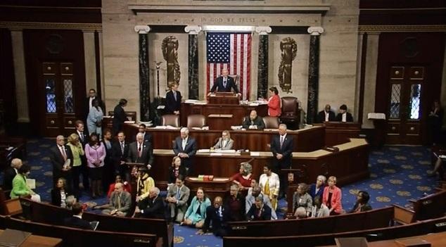 Các nghị sĩ đồng loạt biểu tình ngồi bên trong trụ sở Hạ viện Mỹ hôm 22/6 (Ảnh: Dailymail)