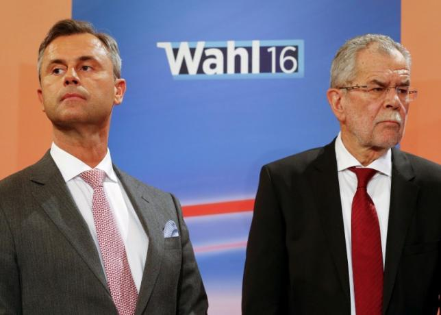 Ứng viên tổng thống Norbert Hofer (trái) và Alexander Van der Bellen (Ảnh: Reuters)