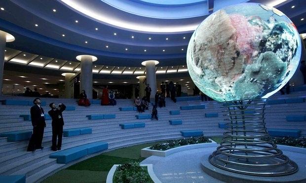 Mô hình trái đất tại khu phức hợp khoa học - kỹ thuật tại Bình Nhưỡng, Triều Tiên (Ảnh: Guardian)