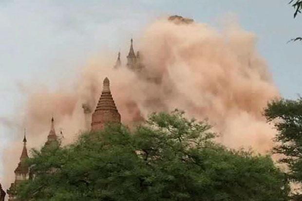 Những bức ảnh chụp lại cho thấy những đám bụi khổng lồ bốc lên từ các ngôi chùa. (Ảnh: DM)