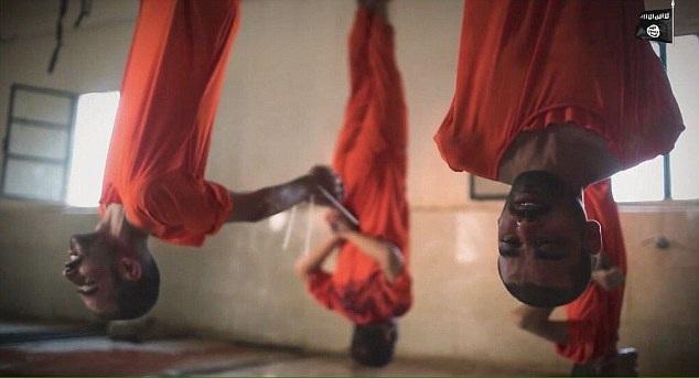 Các tù binh bị IS treo ngược lên trần nhà chờ hành quyết (Ảnh: DM)