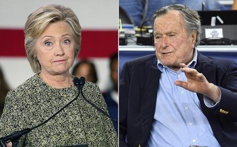 """Cựu Tổng thống George H. W. Bush (Bush """"cha"""") sẽ ủng hộ cho bà Hillary Clinton (Ảnh: REX)"""