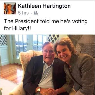 Bà Kathleen Hartington Kennedy Townsend đăng bức ảnh chụp cùng cựu Tổng thống Bush trên Facebook (Ảnh: Facebook)