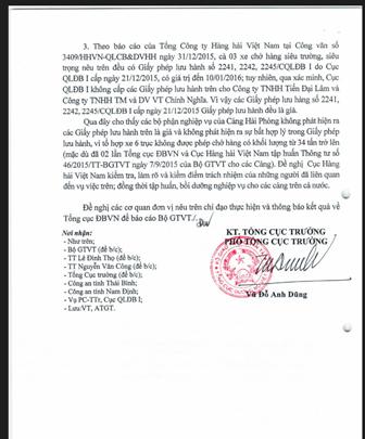 Văn bản yêu cầu xử lý các đơn vị vi phạm liên quan đến sai phạm