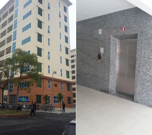 Tòa nhà C2 nơi xảy ra sự cố và vị trí thang máy khiến nam sinh tử vong ( ảnh Hoài Anh)