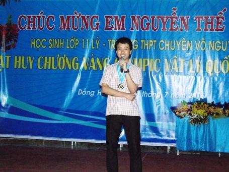 Em Nguyễn Thế Quỳnh cảm ơn lãnh đạo tỉnh Quảng Bình, các thầy, cô giáo và gia đình