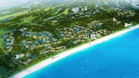 Phối cảnh đại Dự án Quần thể resort, biệt thự nghỉ dưỡng và giải trí cao cấp ven biển FLC Quảng Bình nhìn từ trên cao