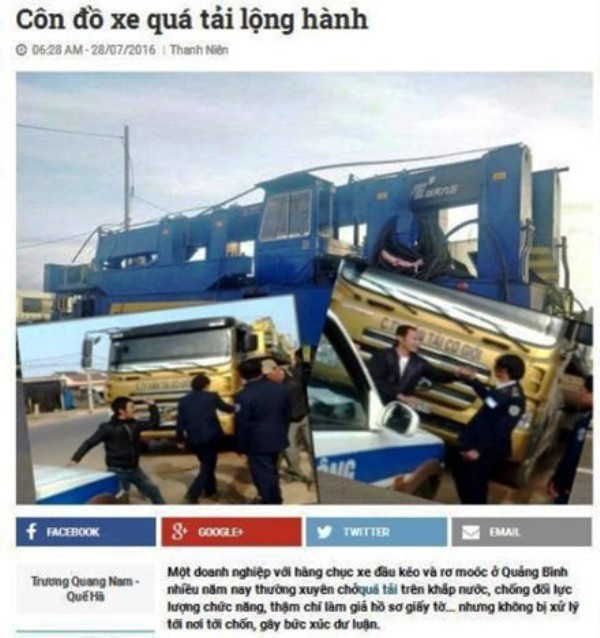 Ảnh chụp lại nội dung bài báo: Côn đồ xe quá tải lộng hành trên báo Thanh Niên.