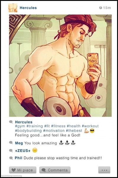 """Chàng Hercules khoe cơ bắp cuồn cuộn trong phòng tập gym với mốt chụp ảnh trong gương. Chàng không quên thể hiện độ """"cool"""" của mình bằng icon """"cơ bắp"""" và """"kính râm""""."""