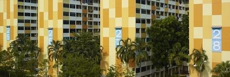 Một khu chung cư được sơn màu như thể một khối lego.