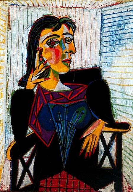 """Dora Maar - nàng thơ của Picasso: Sau Walter, Dora Maar là nàng thơ thứ hai """"đáng kể"""" trong cuộc đời Picasso. Nàng là một nghệ sĩ đa tài người Pháp, là nhiếp ảnh gia, họa sĩ, nhà thơ. Khi gặp nhau, Picasso đã 54 còn Maar mới 28, hai người đã truyền cảm hứng nghệ thuật cho nhau. Cuộc tình của họ kéo dài trong 9 năm và Picasso đã vẽ vô số bức chân dung về nàng. Trong ký ức Picasso, Maar là người phụ nữ của nước mắt, nàng luôn buồn bã và Picasso tìm thấy cảm hứng trong việc khắc họa nỗi buồn của nàng."""