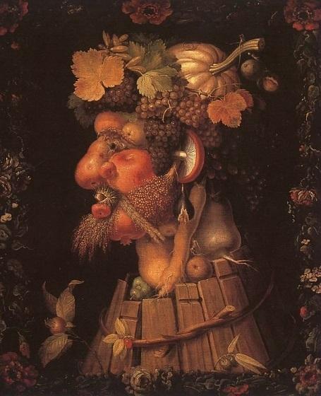 """Bức """"Mùa thu"""" (1573) - danh họa người Ý Giuseppe Arcimboldo. Sinh thời, danh họa Arcimboldo nổi tiếng nhất với những bức chân dung sáng tạo dựa trên trí tưởng tượng, trong đó các nhân vật được tạo thành từ những rau củ, hoa trái, và nhiều tĩnh vật khác. Đây là một tác phẩm tiêu biểu cho phong cách sáng tạo của ông. Các rau củ, hoa trái tạo nên bức chân dung này đều là những nông sản đặc trưng của mùa thu."""