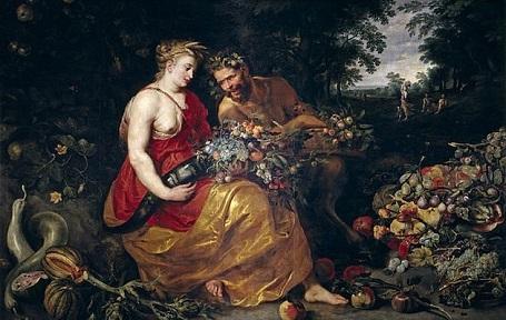 """Bức """"Ceres và Pan"""" (1615) - danh họa Peter Paul Rubens và Frans Snyders. Là nữ thần của đất và nông nghiệp, Ceres được khắc họa đang đội trên đầu một chiếc vòng kết bằng những cọng lúa mì. Bên cạnh nàng là nam thần Pan, vị thần của những người chăn thả gia súc, thần Pan đội trên đầu chiếc vòng kết bằng lá sồi. Ceres tượng trưng cho thiên nhiên đã được chinh phục, thuần hóa, còn Pan là thiên nhiên hoang dã. Chiếc sừng khổng lồ và những hoa trái đặt trong lòng họ tượng trưng cho sự màu mỡ của đất. Rubens đã khắc họa hai nhân vật chính còn Snyders thực hiện những hoa trái, tĩnh vật còn lại trong tranh."""