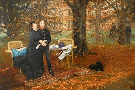 """Bức """"Hoàng hậu Eugénie và con trai"""" (1878) - danh họa người Pháp James Tissot. Tác phẩm khắc họa vị Hoàng hậu cuối cùng trong lịch sử Pháp - Hoàng hậu Eugénie - vợ của Hoàng đế Pháp Napoleon III."""