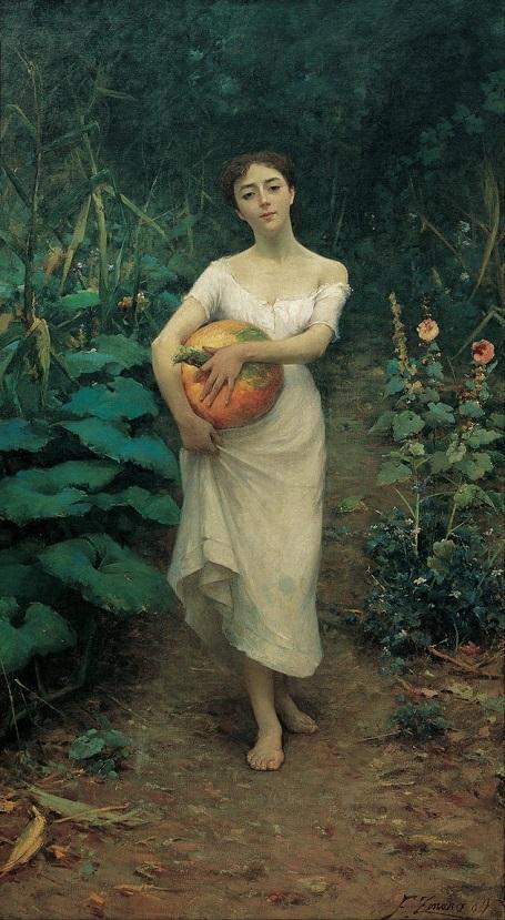 """Bức """"Cô gái ôm quả bí ngô"""" (1889) - danh họa người Ý Fausto Zonaro."""