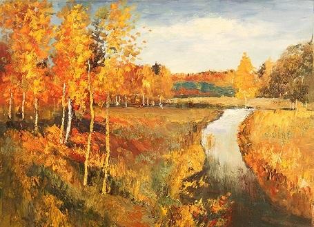 """Bức """"Mùa thu vàng"""" (1895) - danh họa người Nga Isaac Levitan. Sinh thời, Levitan rất yêu thích việc khắc họa cảnh thu, ông đã thực hiện hơn 100 bức tranh xoay quanh đề tài này, trong đó bức """"Mùa thu vàng"""" là nổi tiếng nhất."""