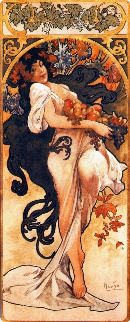 """Bức mùa thu trong bộ tranh """"Bốn mùa"""" (1897) - danh họa người Séc Alphonse Mucha."""